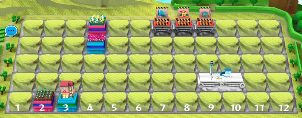 これがボード(施設を配置できる場所)の全体図だ。ゲームスタート前に、プレイヤーの手持ちの施設のうち2つがランダムに選ばれ、配置される。